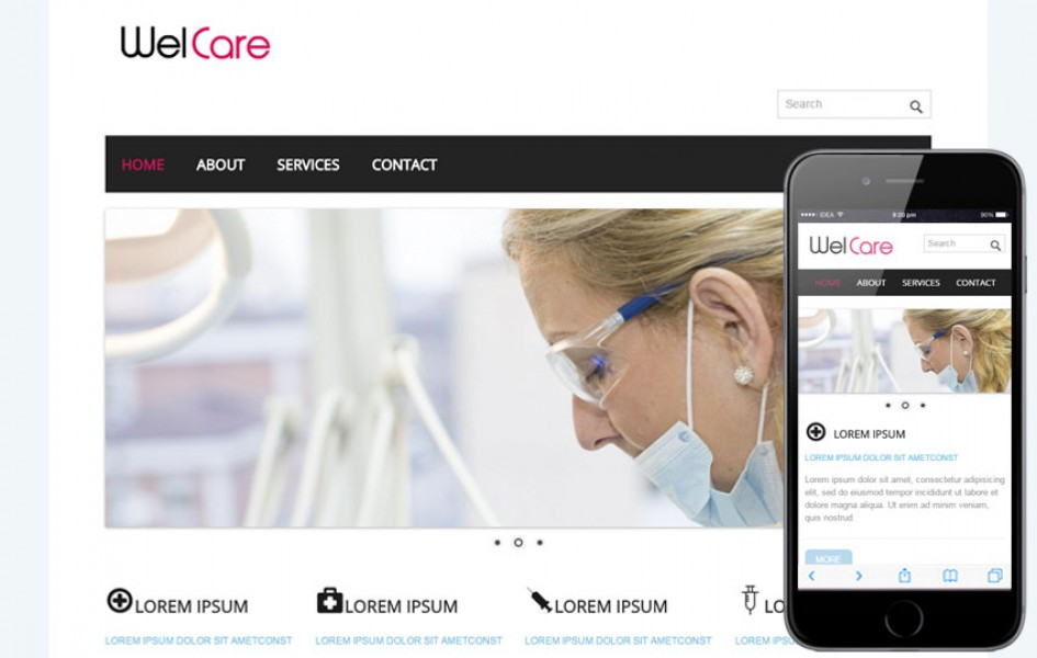 Welcare Hospital Mobile Website Template