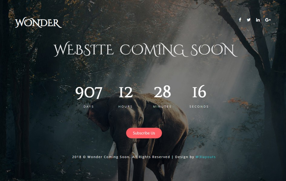 Wonder Coming Soon a Flat Responsive Widget Template