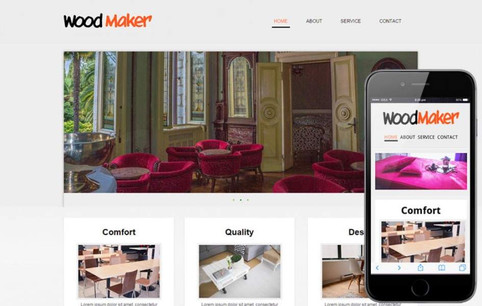 Wood Maker Web and Mobile Template for Free