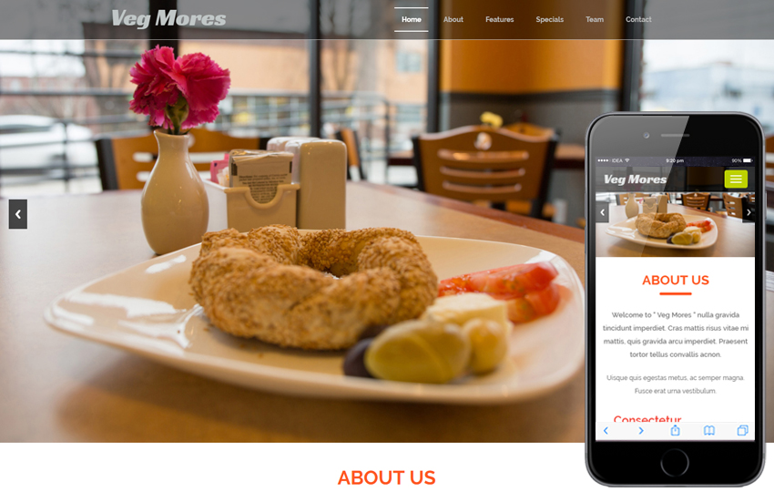 Veg Mores a Restaurant Category Bootstrap Responsive Web Template